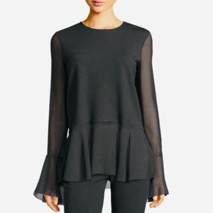 ELLE Peplum Blouse Top with Bell Sleeves Size L